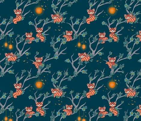 Red Pandas at Night small scale fabric by jennifer_todd on Spoonflower - custom fabric
