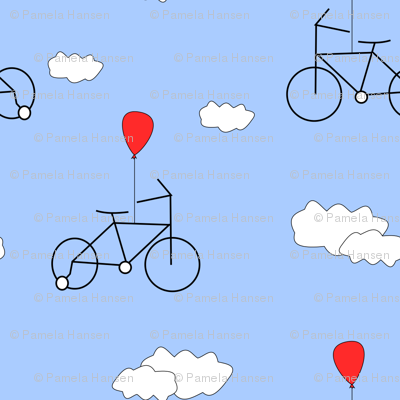 A bicycle with a red balloon