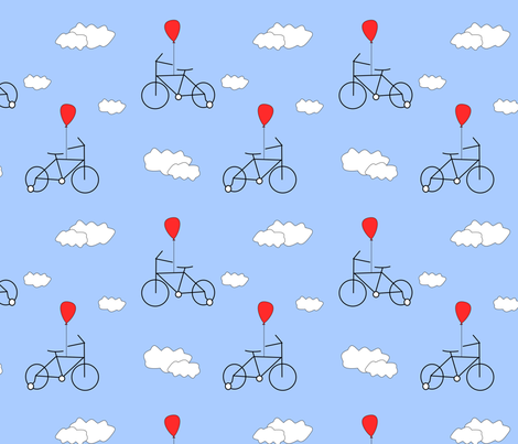 A bicycle with a red balloon fabric by pamelachi on Spoonflower - custom fabric