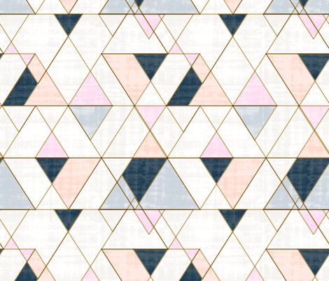 Mod Triangles Pink Peach fabric by crystal_walen on Spoonflower - custom fabric