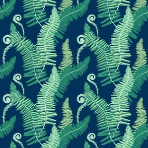 Native Ferns, Vintage Feel- SMALL SCALE on Navy