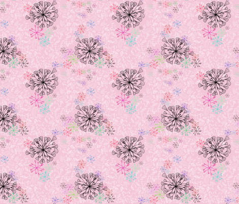 Flor de Paris Pink fabric by holahappypeople on Spoonflower - custom fabric