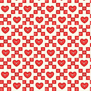 Red Work Heart Quilt  mini