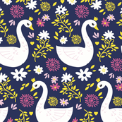 Swan Garden bold 1 - floral swan sweet pretty princess fairy tale birds flowers