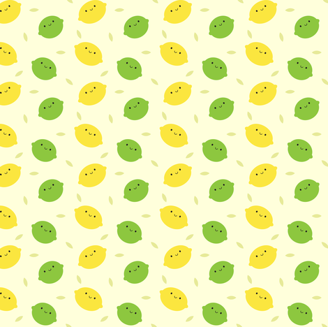 Kawaii Lemons & Limes fabric by marcelinesmith on Spoonflower - custom fabric
