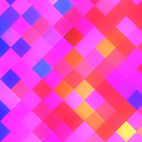Red Pink Lilac Bright Squares