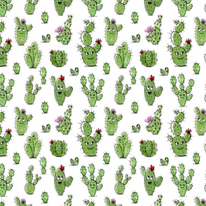 Cute little cactus people – green on white