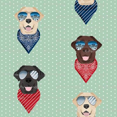 labrador sunglasses summer beach bandana dog fabric mint