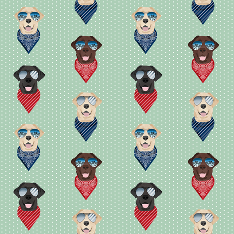 labrador sunglasses summer beach bandana dog fabric mint fabric by petfriendly on Spoonflower - custom fabric