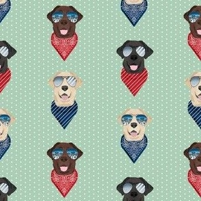 labrador sunglasses summer beach bandana dog fabric mint