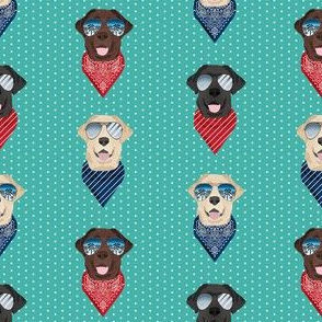 labrador sunglasses summer beach bandana dog fabric teal