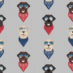 labrador sunglasses summer beach bandana dog fabric grey