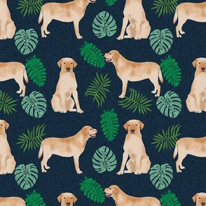 yellow lab monstera tropical dog fabric navy