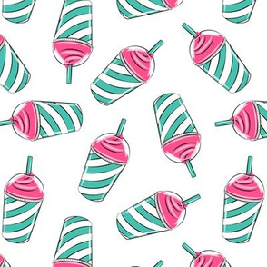 Ice drink - Summer Ice cream - pink and teal on white