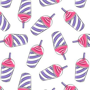 ice drink - summer fabric - pink and purple  on white