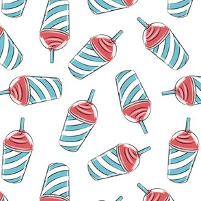 ice drink summer treat fabric blue and red on white