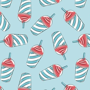 ice drink summer treat fabric blue and red