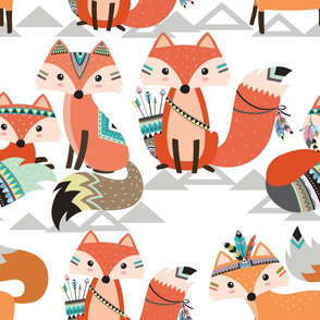 Extra Large - Tribal Woodland Foxes
