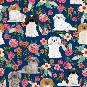 pekingese florals dog breed fabric navy