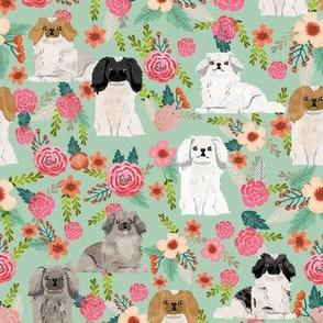 pekingese florals dog breed fabric mint