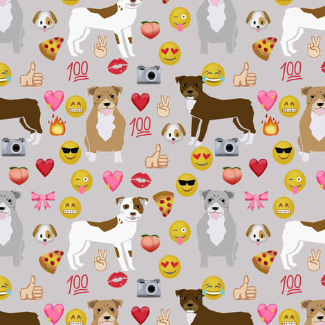 pitbull mixed birthday party dog breed fabric grey fabric by petfriendly on Spoonflower - custom fabric