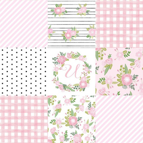 monogram quilt letter U girls pink nursery baby quilts