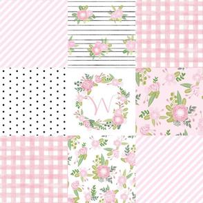 monogram quilt letter W girls pink nursery baby quilts