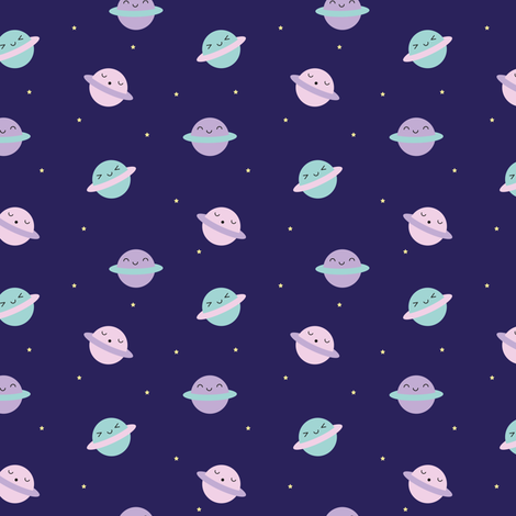 Kawaii Pastel Planets fabric by marcelinesmith on Spoonflower - custom fabric