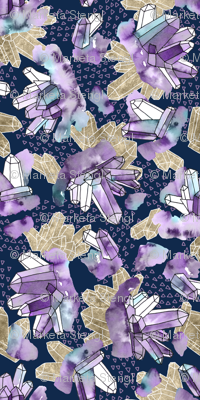 Amethyst Crystal Clusters / Violet, Blue and Gold