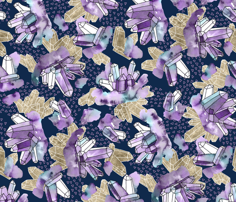 Amethyst Crystal Clusters / Violet, Blue and Gold fabric by marketa_stengl on Spoonflower - custom fabric