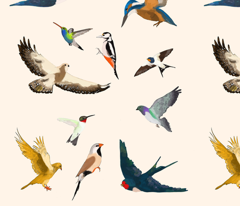 Flying Birds fabric by one_eleven__studio on Spoonflower - custom fabric