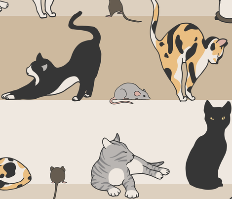Cat & Mouse Large Scale fabric by figandfossil on Spoonflower - custom fabric