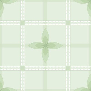 4 Petal Place: Mossy Green Floral Grid Pattern