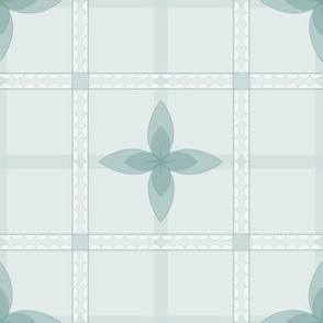 4 Petal Place: Watery Blue Floral Grid Pattern