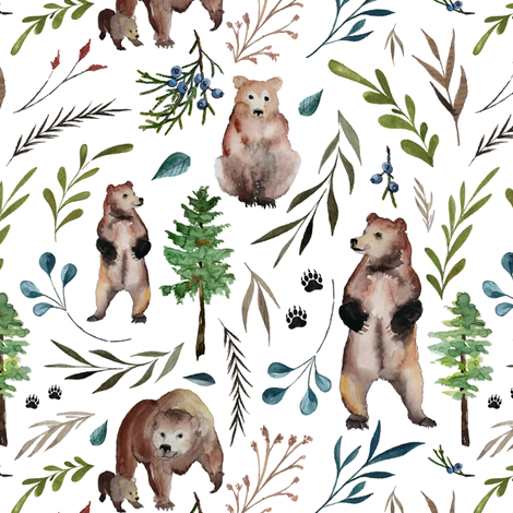 bears and leaves (large) fabric by thekindredpines on Spoonflower - custom fabric