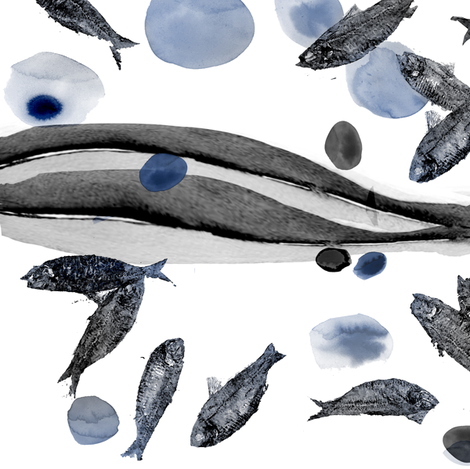 Fish Fossils Blue fabric by agregorydesigns on Spoonflower - custom fabric