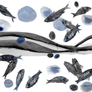 Fish Fossils Blue