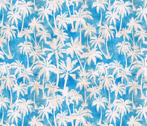 Maui Palm 2 Turqiouse fabric by schatzibrown on Spoonflower - custom fabric
