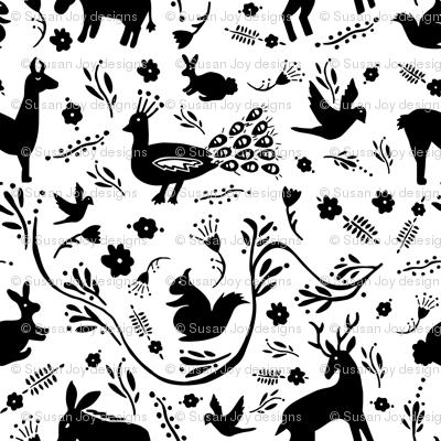 Woodland Otomi - Black & White (small)