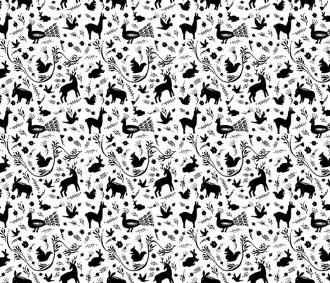 Woodland Otomi - Black & White (small) fabric by susanjoydesigns on Spoonflower - custom fabric