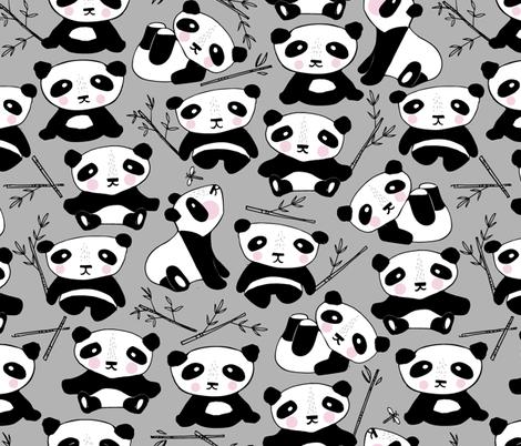 panda-endangered-gray fabric by mintedtulip on Spoonflower - custom fabric