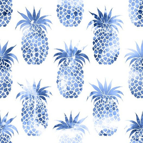pineapples blue watercolor