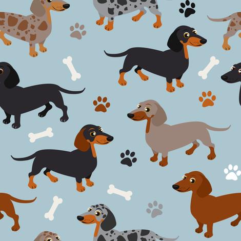 Dachshund Dogs Blue fabric by jannasalak on Spoonflower - custom fabric