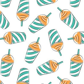 ice drink summer treat fabric orange & teal on white
