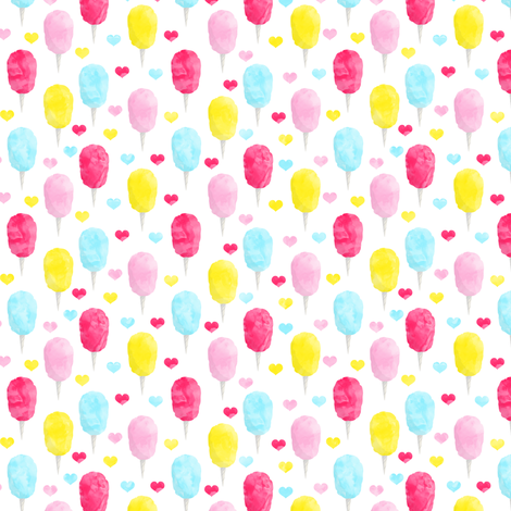 "1"" scale -  cotton candy (brights) with hearts fabric by littlearrowdesign on Spoonflower - custom fabric"