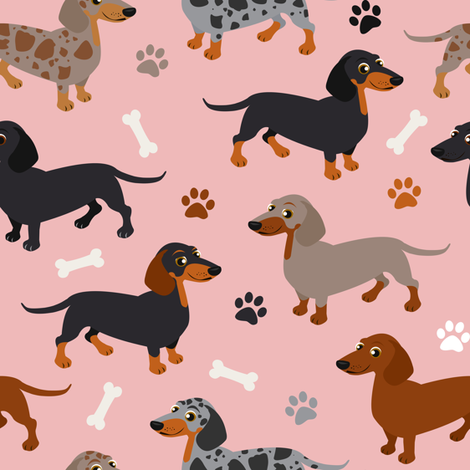 Dachshund Dogs Pink fabric by jannasalak on Spoonflower - custom fabric
