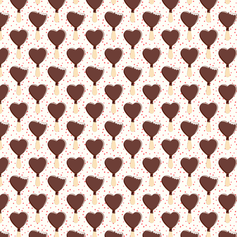 """1"""" scale - heart shaped ice-cream - cream with red dots fabric by littlearrowdesign on Spoonflower - custom fabric"""