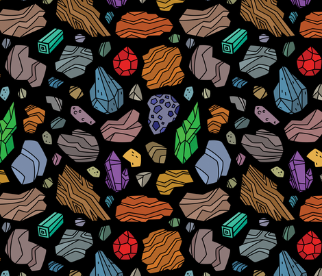 Geology (black) fabric by leozztt on Spoonflower - custom fabric