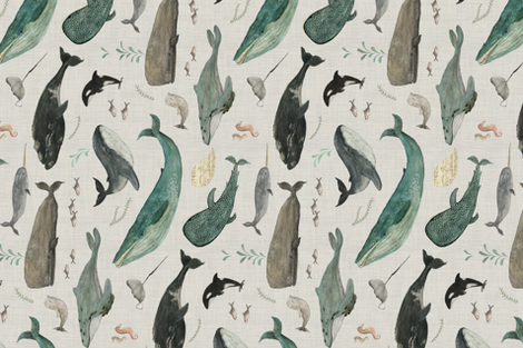 Whale's song gray {rotated large} fabric by katherine_quinn on Spoonflower - custom fabric
