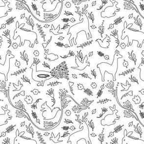 Woodland Otomi - Black & White Outline (small)
